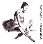 watercolor abstract ballerina.... | Shutterstock . vector #485910349