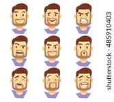 bearded hipster man character... | Shutterstock .eps vector #485910403