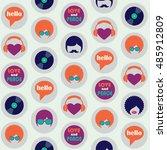 hippie retro icons seamless... | Shutterstock .eps vector #485912809