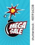 mega sale vector design with... | Shutterstock .eps vector #485916238