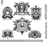 vintage emblems with skull... | Shutterstock .eps vector #485916580