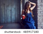 young smiling woman coffee time.... | Shutterstock . vector #485917180