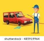 car washing service. vector... | Shutterstock .eps vector #485919964