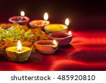 clay diya lamps lit during... | Shutterstock . vector #485920810