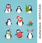 cute penguins set   merry... | Shutterstock .eps vector #485921320