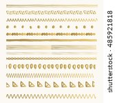 gold hand drawn borders. ink... | Shutterstock .eps vector #485921818