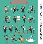 working day concept set.  in... | Shutterstock . vector #485922400