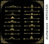 set of  decorative vintage gold ... | Shutterstock . vector #485922520