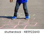 little boy playing hopscotch on ...   Shutterstock . vector #485922643