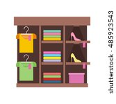 shelves with clothes in shop.... | Shutterstock .eps vector #485923543