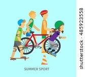 summer sport. active way of... | Shutterstock .eps vector #485923558