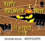 halloween banner  black monster ... | Shutterstock .eps vector #485932090