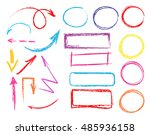 set of hand drawn colorful... | Shutterstock .eps vector #485936158