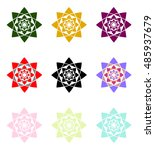mandala flowers set   Shutterstock .eps vector #485937679