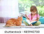 red cat and cute little girl