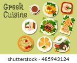 greek cuisine lunch dishes icon ... | Shutterstock .eps vector #485943124
