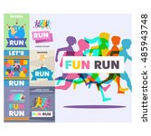 running poster  fun run. | Shutterstock .eps vector #485943748