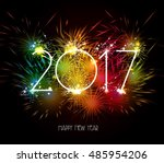 happy new year 2017 fireworks...   Shutterstock . vector #485954206