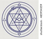 mystical astrological sign with ... | Shutterstock .eps vector #485954359