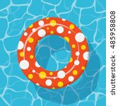 top view swim ring icon on the... | Shutterstock .eps vector #485958808