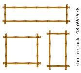 Set Of Bamboo Frame On White...