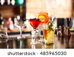 different drinks on bar counter | Shutterstock . vector #485965030