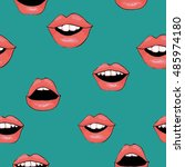 lips pattern   vector... | Shutterstock .eps vector #485974180