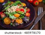 fresh healthy salad with quinoa ... | Shutterstock . vector #485978170