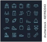 Stock vector clothes icons thin line set 485982043