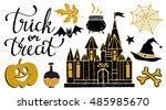 halloween design elements set.... | Shutterstock .eps vector #485985670