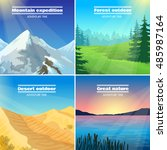 great nature camping 4 flat... | Shutterstock . vector #485987164