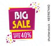 big sale with discount upto 40  ... | Shutterstock .eps vector #485987440