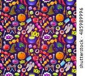 seamless halloween pattern.... | Shutterstock .eps vector #485989996