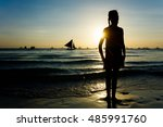 silhouette of happy girl on the ... | Shutterstock . vector #485991760