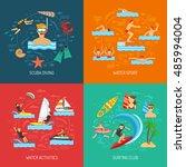 water sport 2x2 flat design... | Shutterstock . vector #485994004