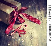 christmas present with red... | Shutterstock . vector #485994559