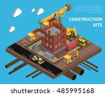 construction site with building ... | Shutterstock . vector #485995168