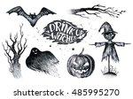 halloween hand drawing black... | Shutterstock . vector #485995270