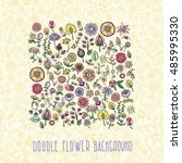hand drawn floral seamless... | Shutterstock .eps vector #485995330
