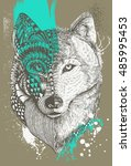Zentangle Stylized Wolf With...