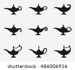 Aladdin Lamp Icons. Vector...