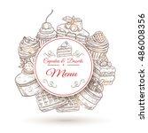 pastry desserts menu poster... | Shutterstock .eps vector #486008356