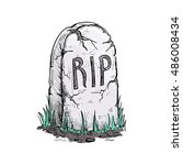scary cracked tomb grave stone... | Shutterstock .eps vector #486008434