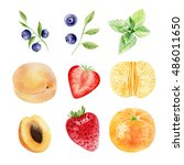 set collection of hand painted... | Shutterstock . vector #486011650
