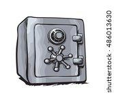 metal bank safe. hand drawn... | Shutterstock .eps vector #486013630