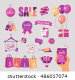 collection of sale stickers and ... | Shutterstock .eps vector #486017074