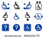 wheelchair signs and icons | Shutterstock .eps vector #486020179