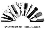 set of silhouettes of tools for ... | Shutterstock .eps vector #486023086