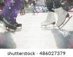 Closeup Skating Shoes Ice...