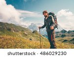 man hiking travel lifestyle... | Shutterstock . vector #486029230